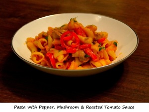Day 10 Dinner - Pasta with Pepper, Mushroom & Tomato Sauce