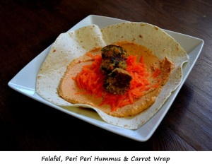 Day 3 Lunch - Falafel Carrot and Peri Peri Hummus Wrap