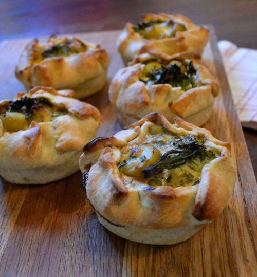 Rustic Pies with Jersey Royals & Tenderstem Broccoli